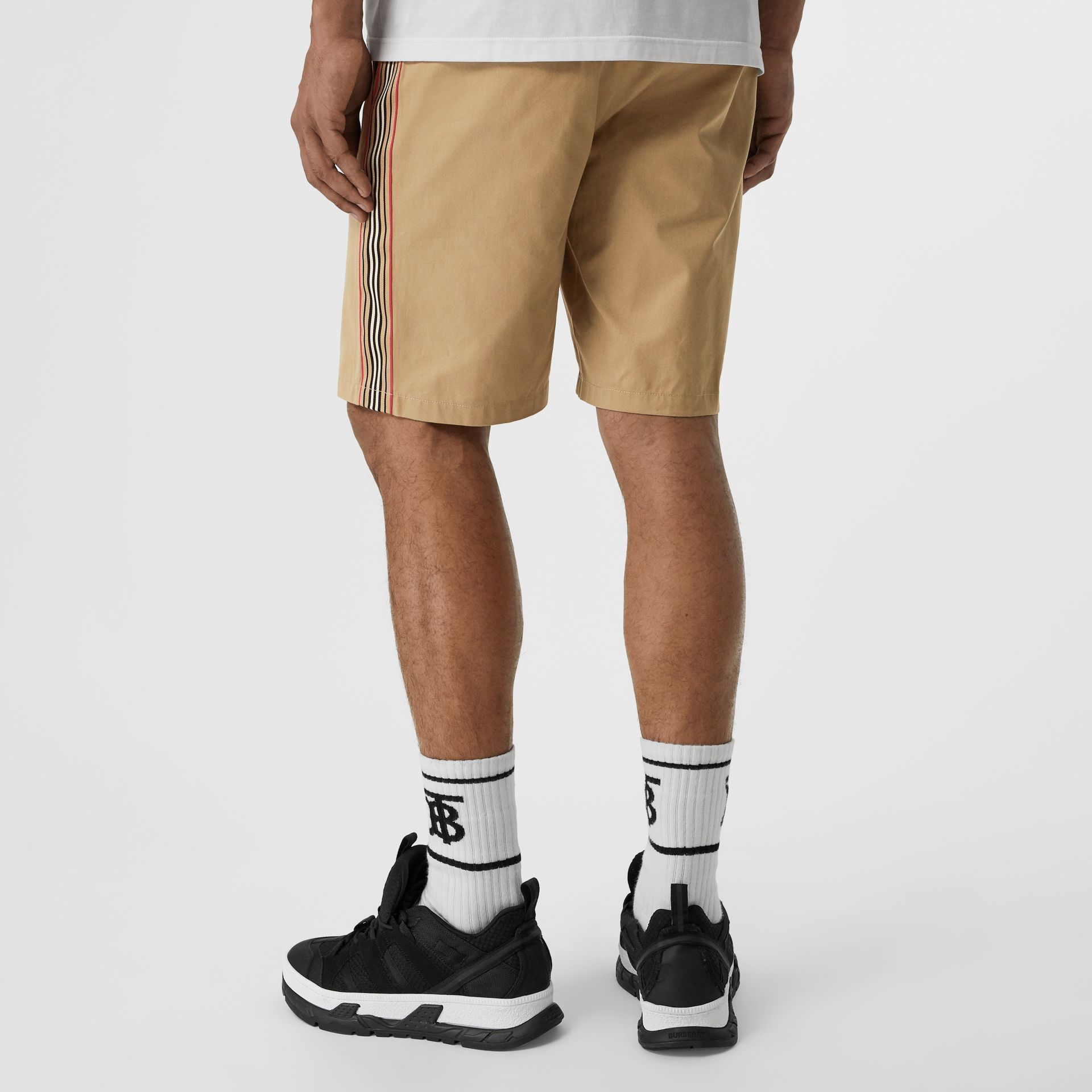 Icon Stripe Detail Cotton Twill Chino Shorts in Honey - Men | Burberry - gallery image 2