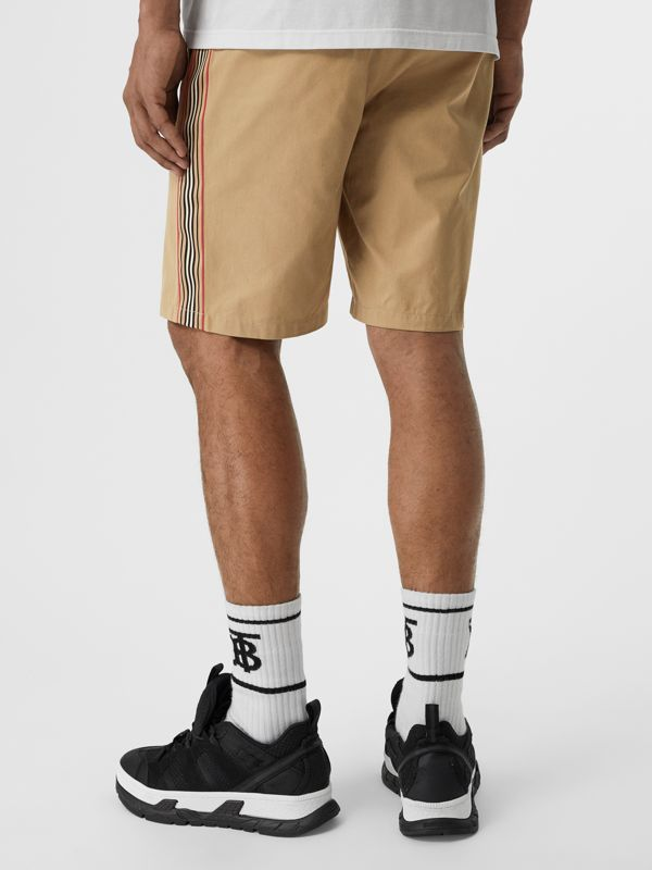 Icon Stripe Detail Cotton Twill Chino Shorts in Honey - Men | Burberry United Kingdom - cell image 2