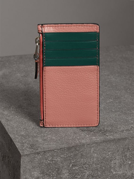 Two-tone Leather Zip Card Case in Dusty Rose