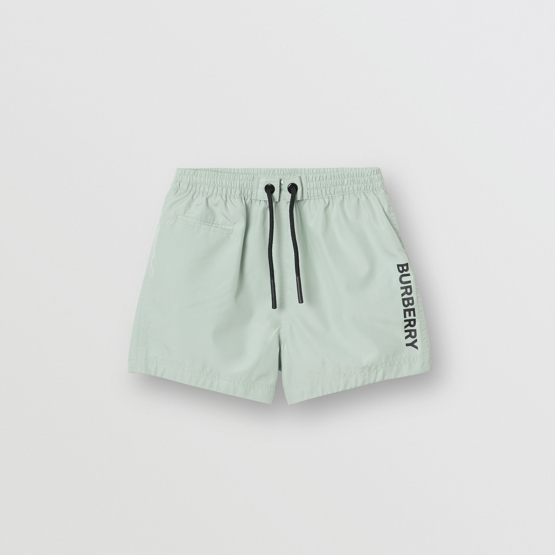 Logo Print Drawcord Swim Shorts in Pale Opal - Children | Burberry - gallery image 0