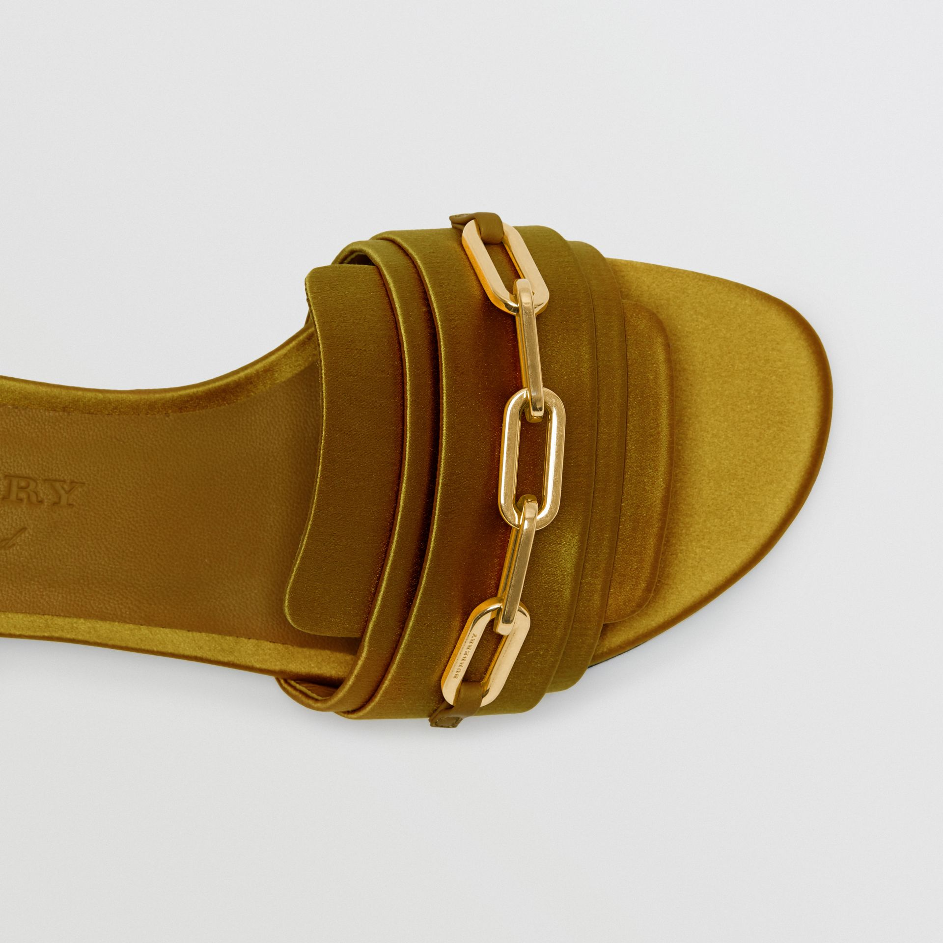 Link Detail Satin and Leather Slides in Antique Yellow - Women | Burberry - gallery image 1