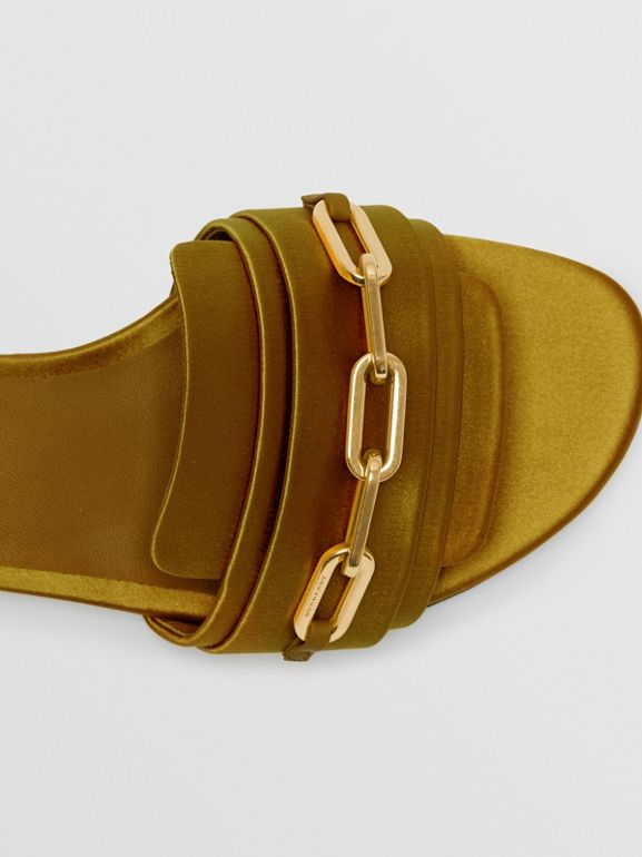 Link Detail Satin and Leather Slides in Antique Yellow - Women | Burberry United Kingdom - cell image 1