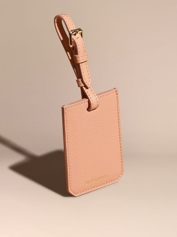 Grainy Leather Luggage Tag Pink Apricot