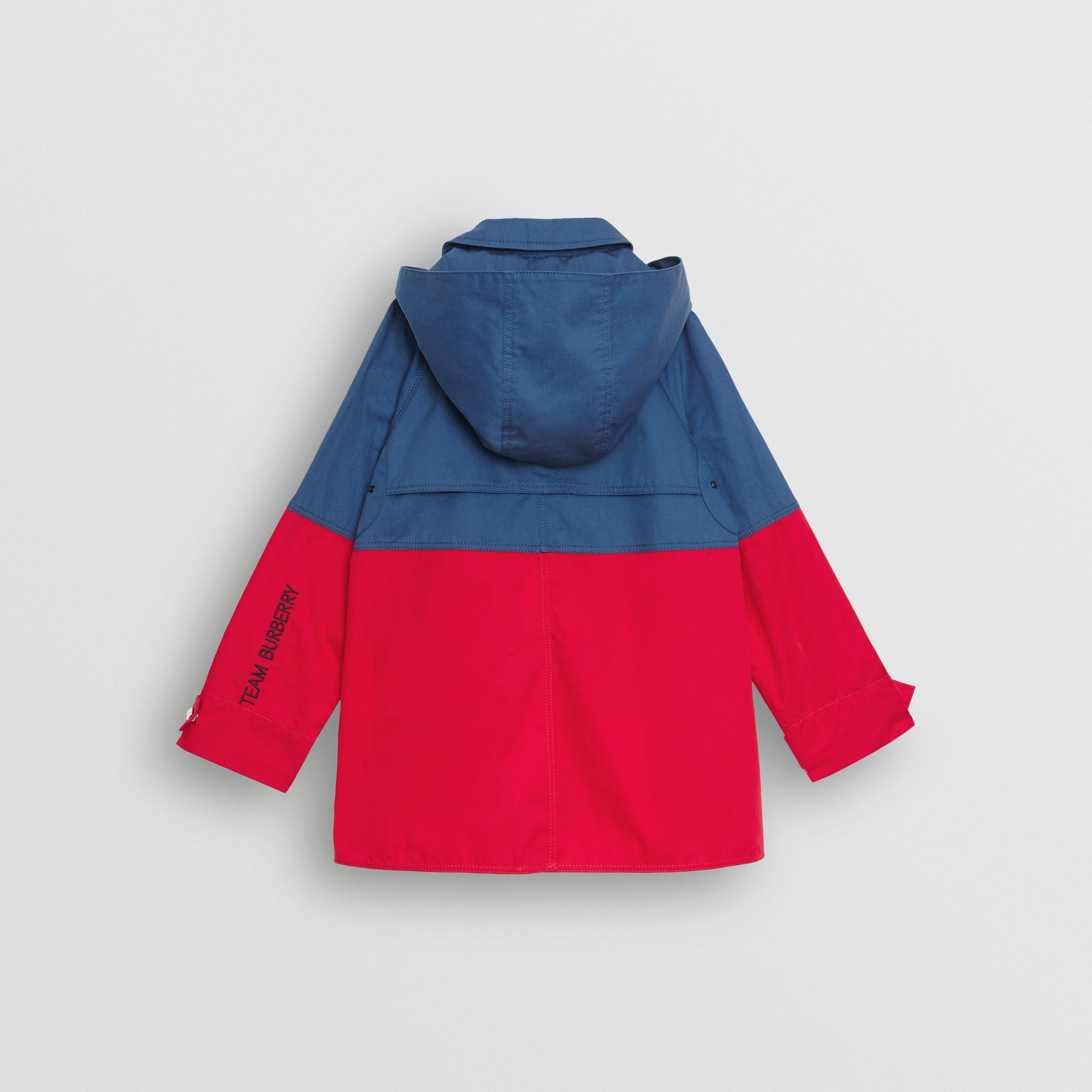 Detachable Hood Colour Block Cotton Car Coat in Dusty Blue - Children | Burberry - gallery image 3