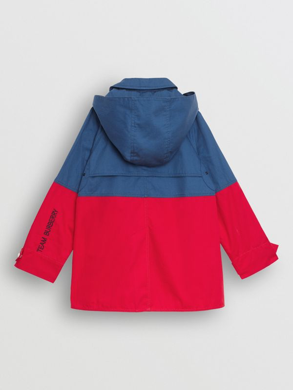 Detachable Hood Colour Block Cotton Car Coat in Dusty Blue - Children | Burberry - cell image 3