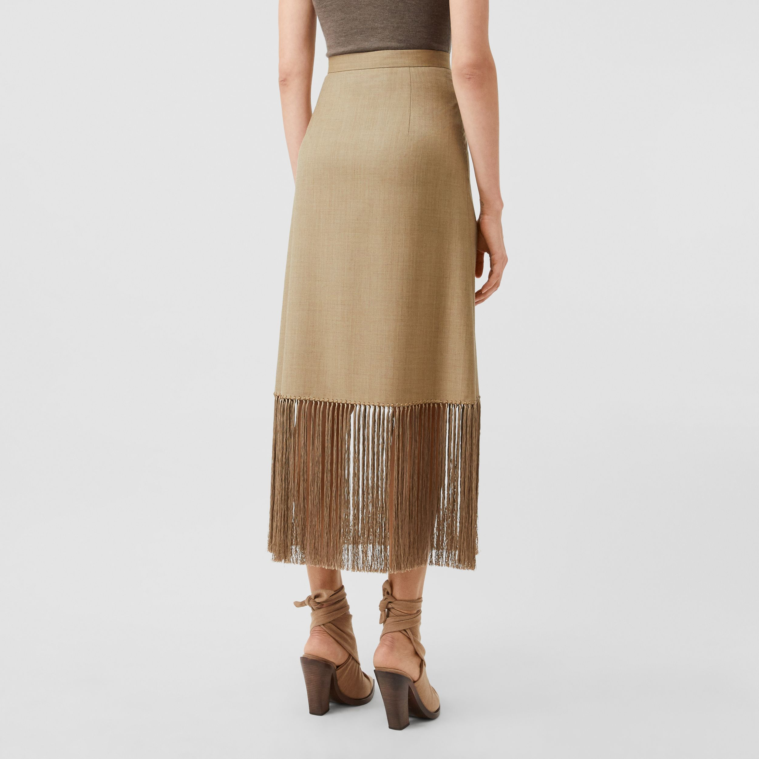 Fringed Wool Cashmere A-line Skirt in Pecan Melange - Women | Burberry - 3