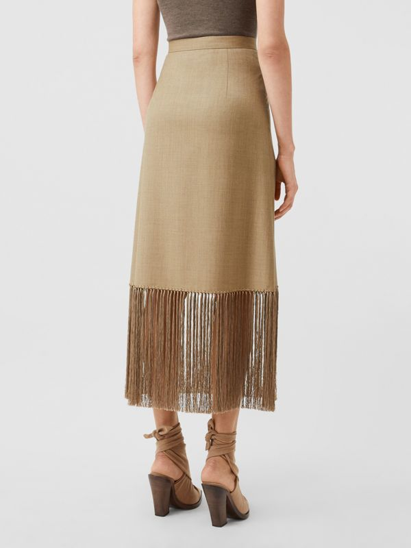 Fringed Wool Cashmere A-line Skirt in Pecan Melange - Women | Burberry - cell image 2