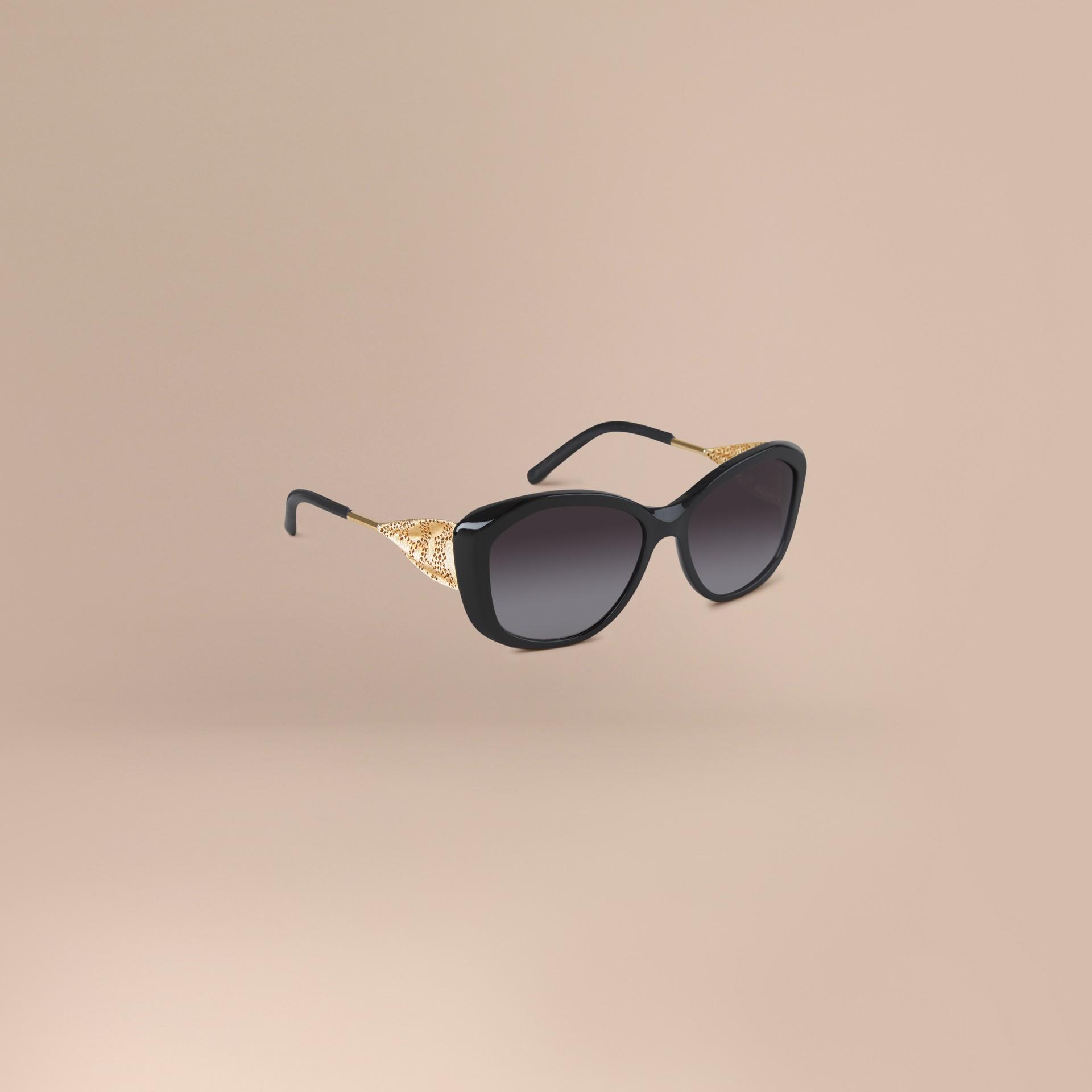 Nero Occhiali da sole con montatura quadrata collezione Gabardine Nero - immagine della galleria 1