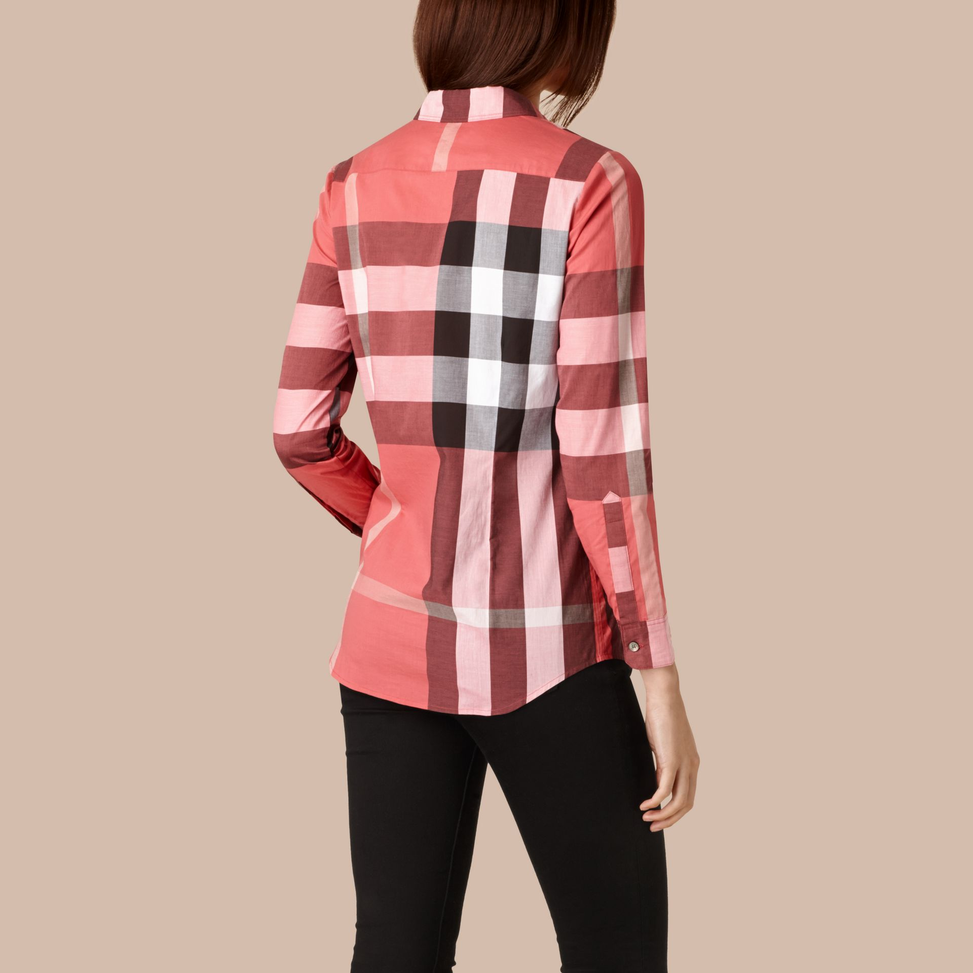 Bright copper pink Check Cotton Shirt Bright Copper Pink - gallery image 2