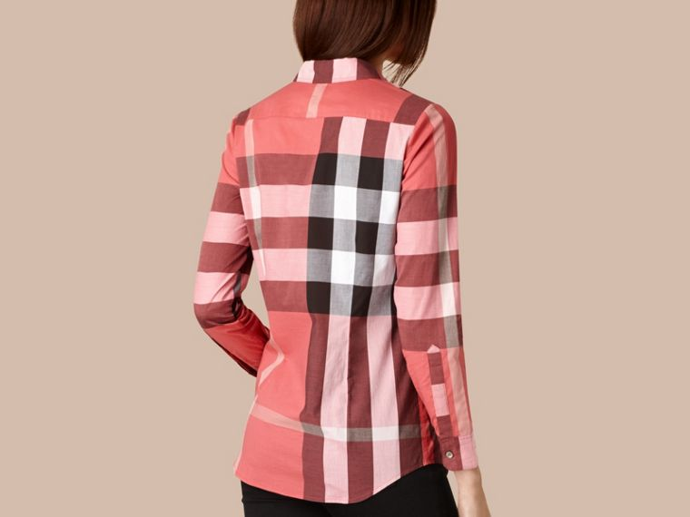 Bright copper pink Check Cotton Shirt Bright Copper Pink - cell image 1