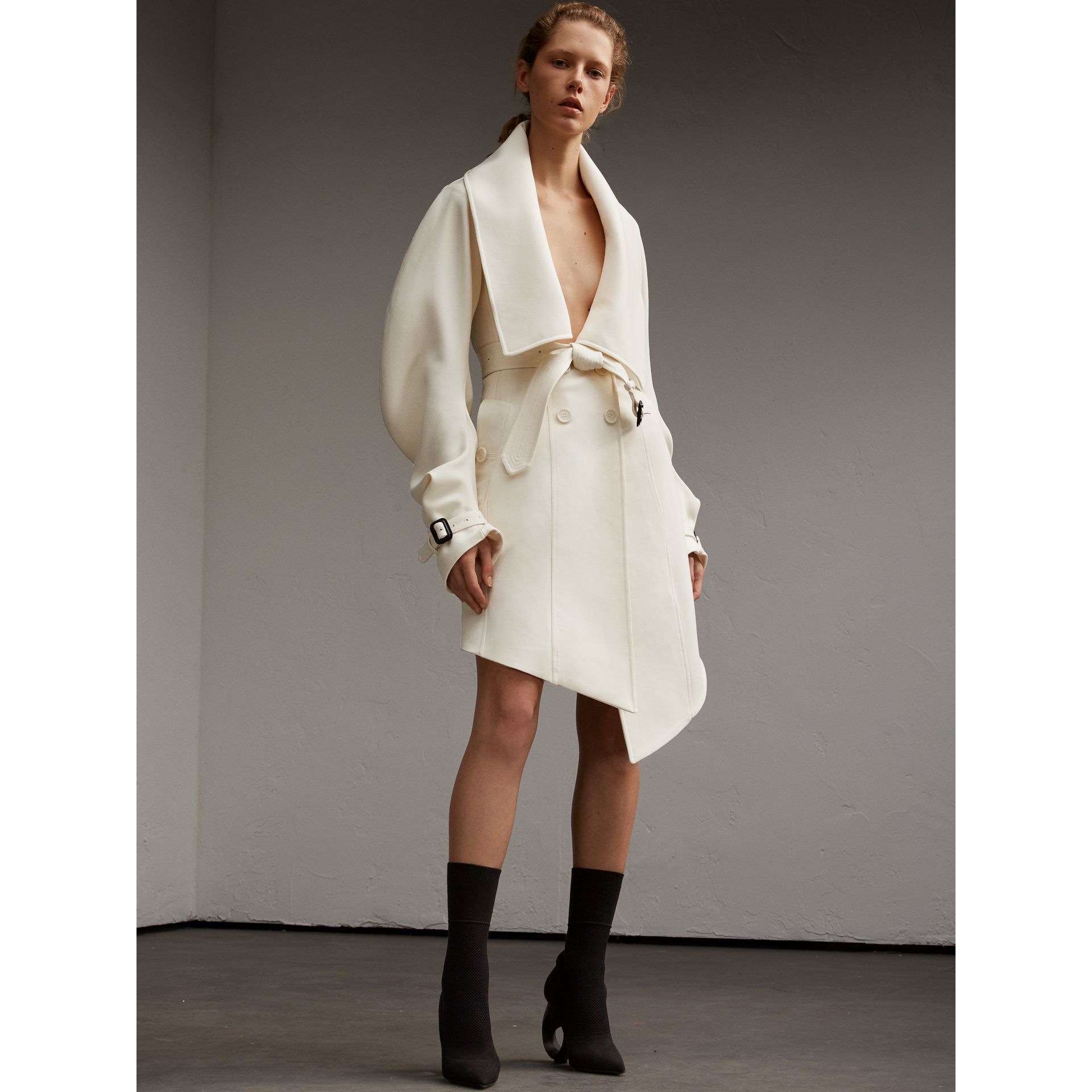 Lightweight Double-faced Wool Twill Asymmetric Coat - gallery image 6