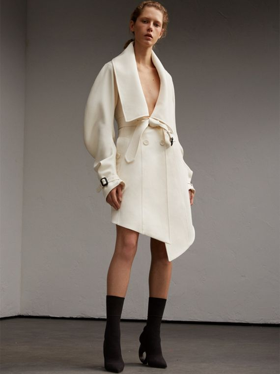 Lightweight Double-faced Wool Twill Asymmetric Coat
