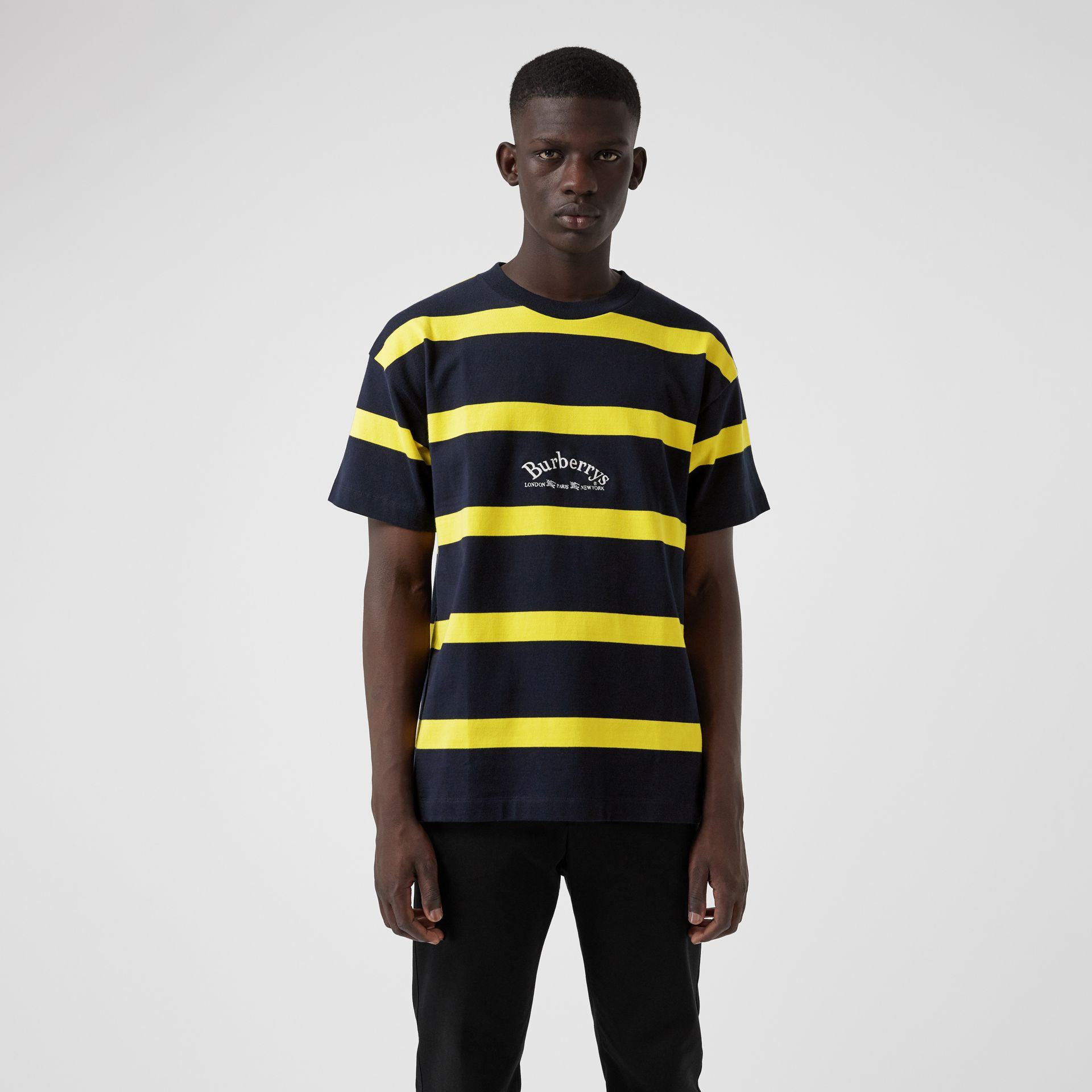 Embroidered Archive Logo Striped Cotton T-shirt in Navy - Men | Burberry Hong Kong - gallery image 0