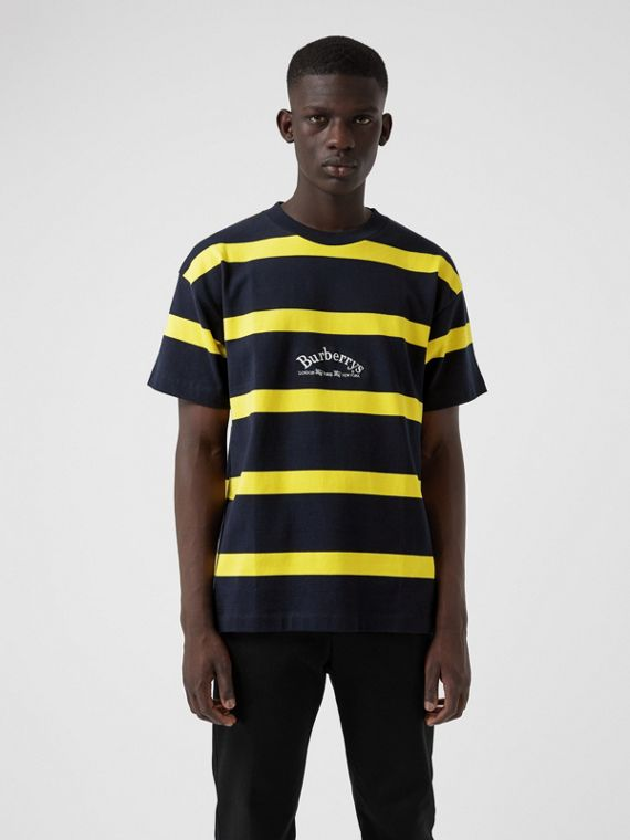Embroidered Archive Logo Striped Cotton T-shirt in Navy