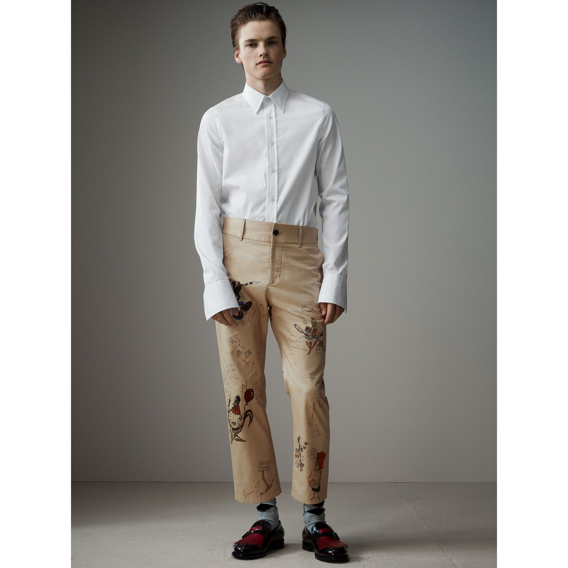 Sketch Print Cotton Cropped Chinos in Sand - Men | Burberry - gallery image 0