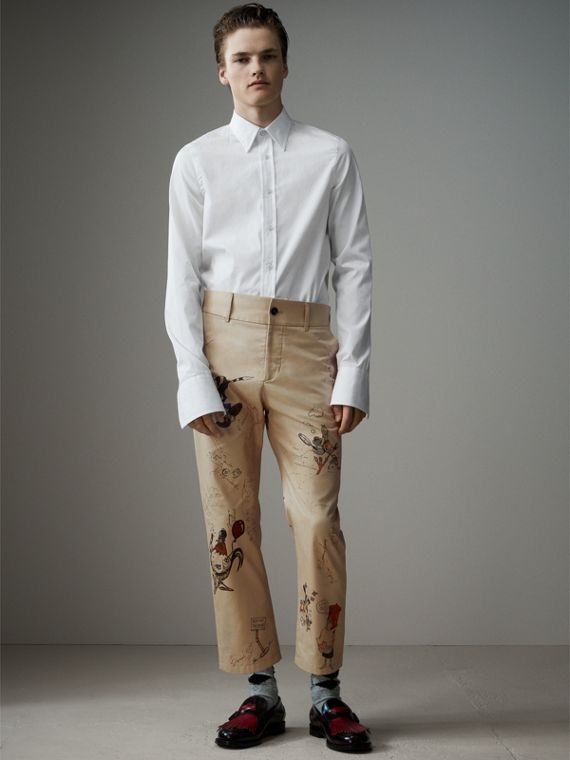Sketch Print Cotton Cropped Chinos in Sand