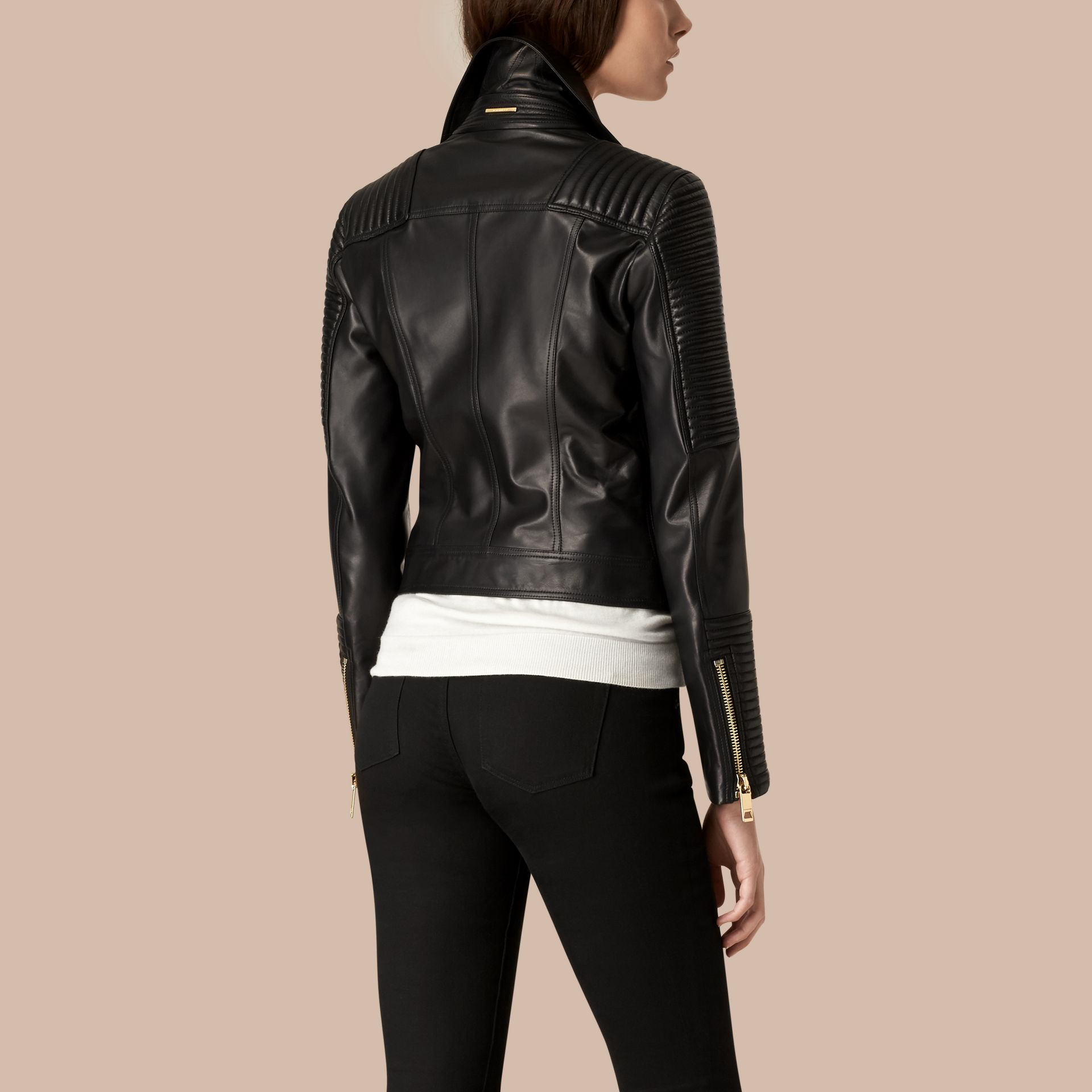 Black Quilted Detail Lambskin Biker Jacket - gallery image 3