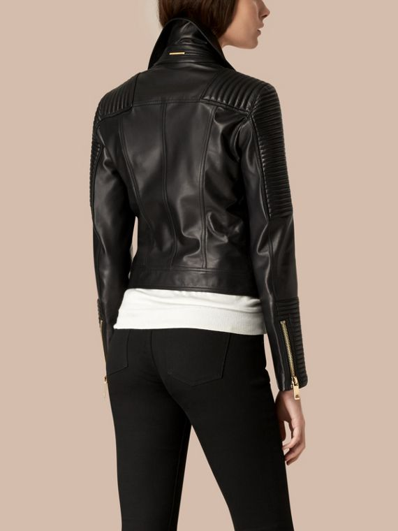 Black Quilted Detail Lambskin Biker Jacket - cell image 2
