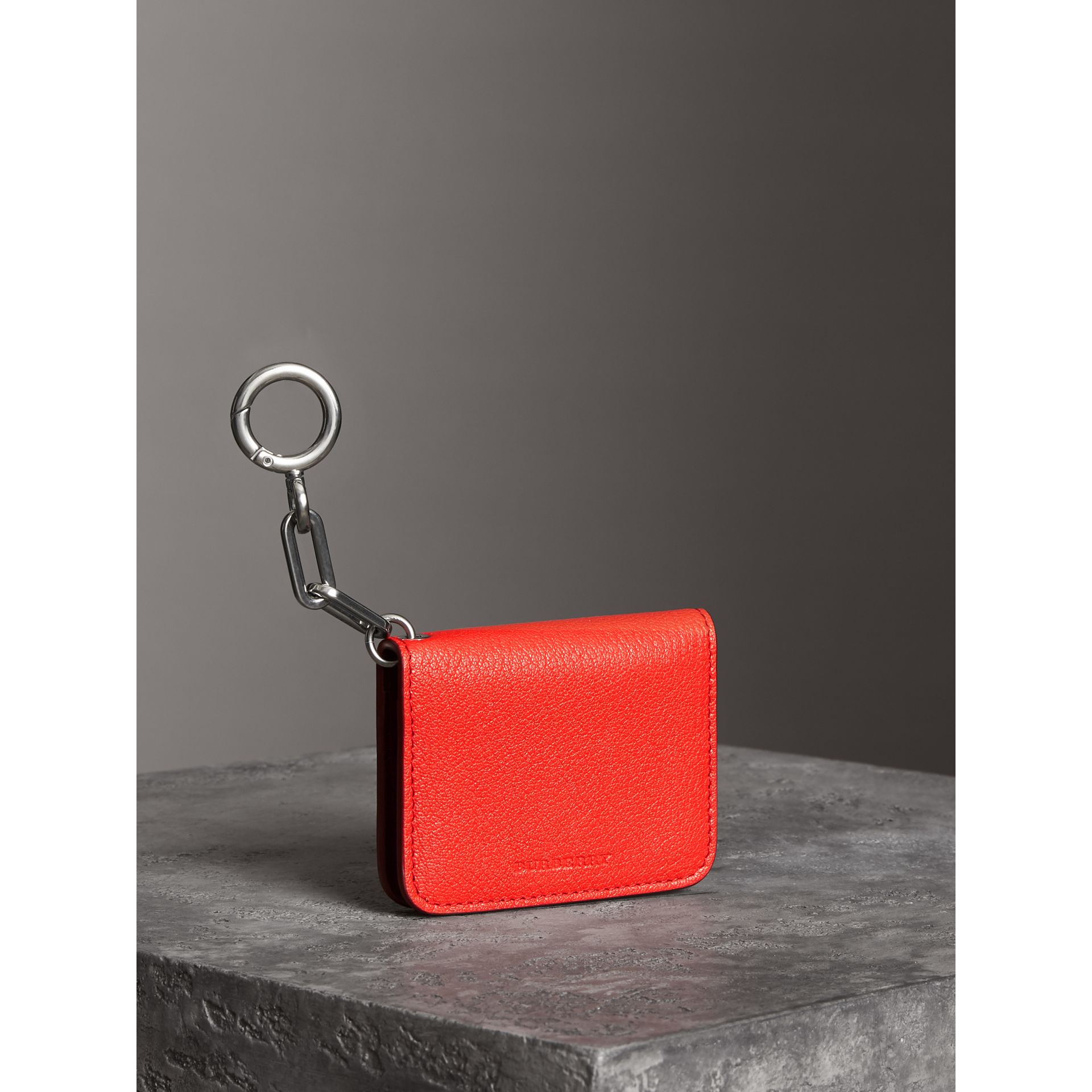 Link Detail Leather ID Card Case Charm in Bright Red | Burberry - gallery image 2