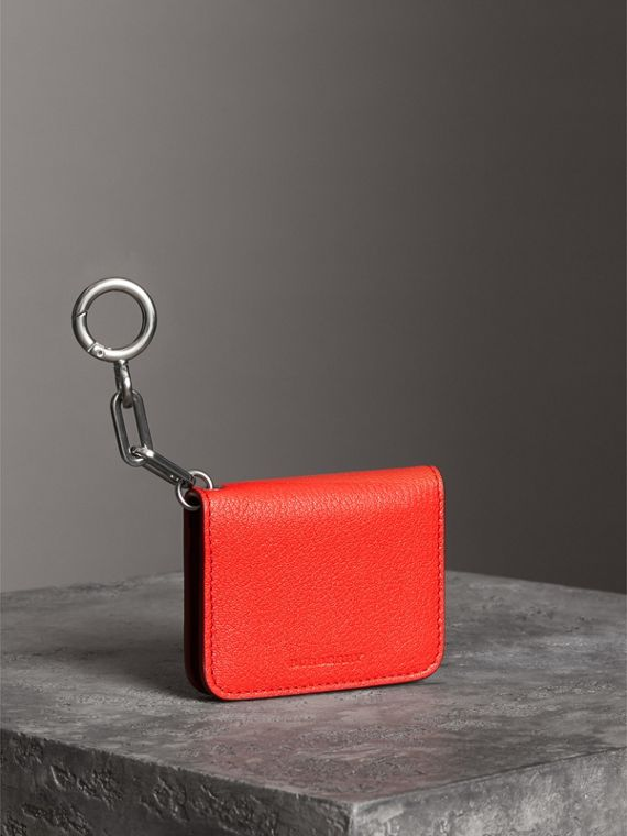Link Detail Leather ID Card Case Charm in Bright Red | Burberry - cell image 2