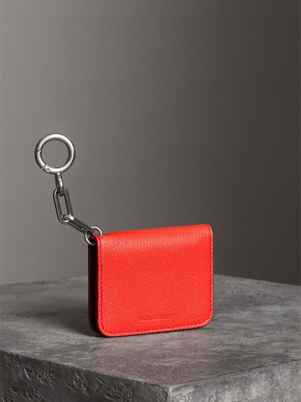 Link Detail Leather ID Card Case Charm in Bright Red | Burberry Hong Kong - cell image 2