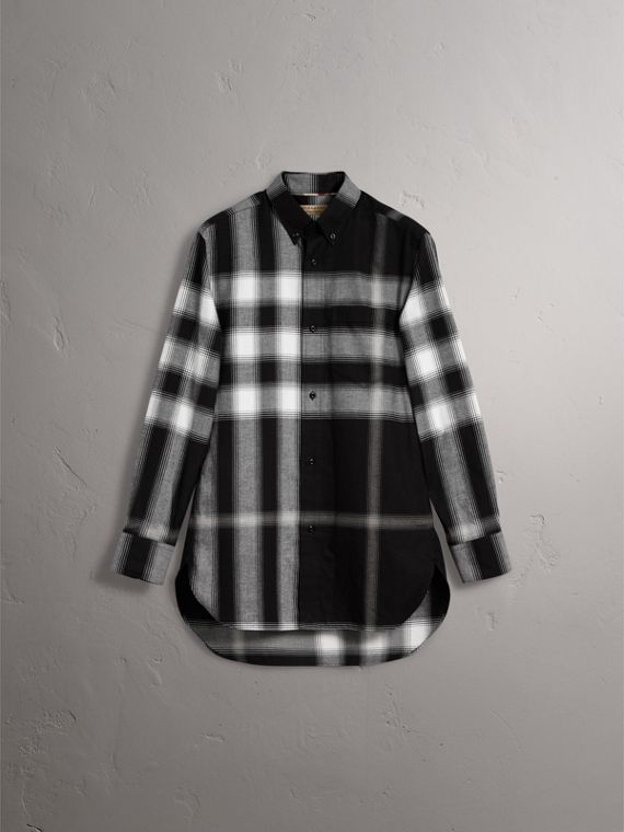 Ombré Check Cotton Flannel Shirt in Black - Men | Burberry - cell image 3