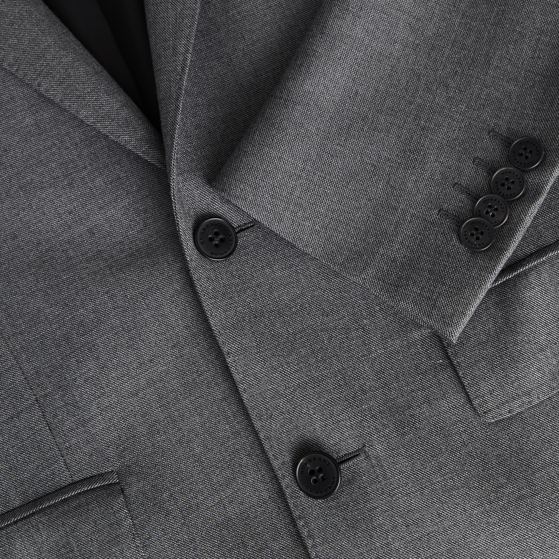 Classic Fit Sharkskin Wool Suit in Mid Grey Melange - Men | Burberry United Kingdom - gallery image 9