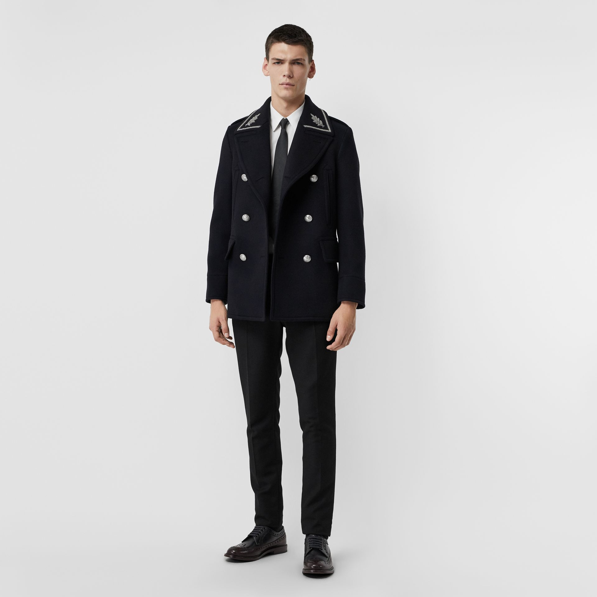 Bullion Wool Cashmere Pea Coat in Dark Navy - Men | Burberry Singapore - gallery image 0