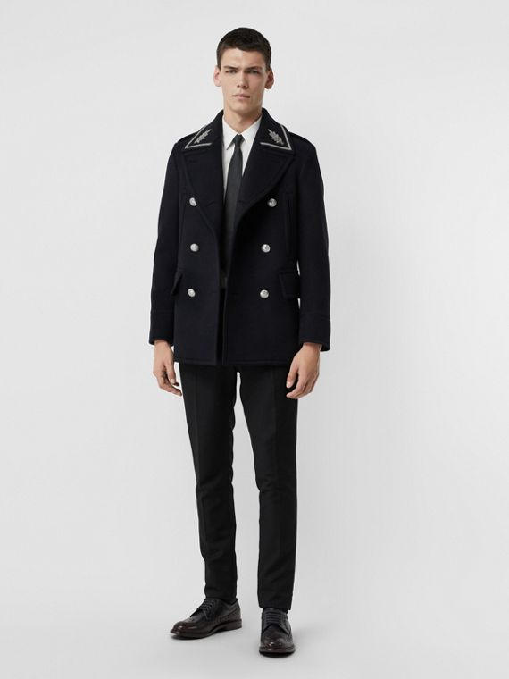 Bullion Wool Cashmere Pea Coat in Dark Navy
