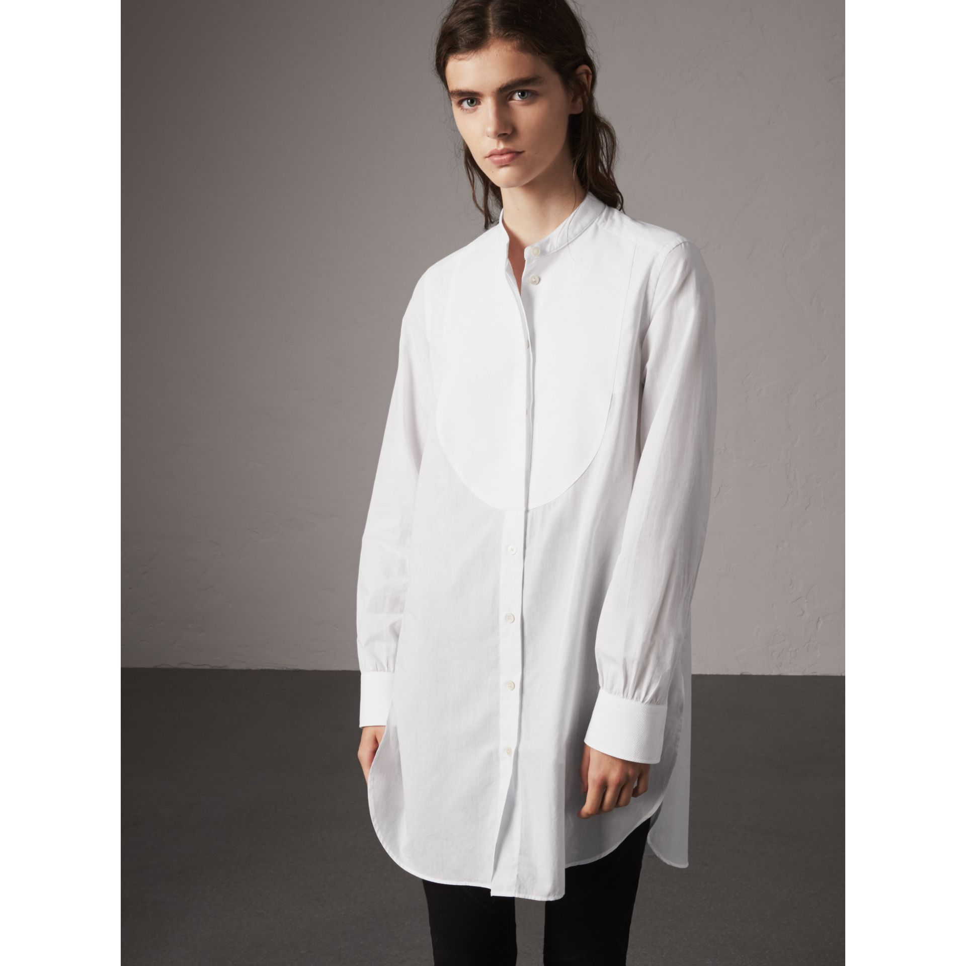 Bib Detail Cotton Longline Tunic Shirt in White - Women | Burberry - gallery image 6