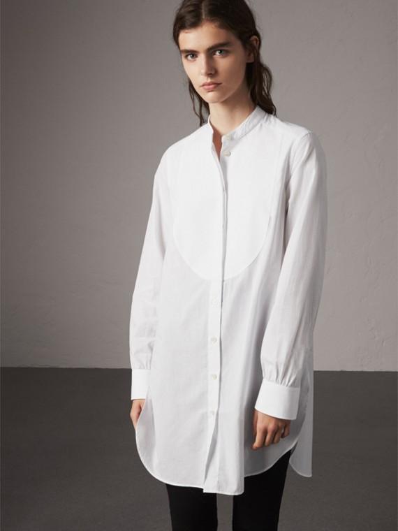 Bib Detail Cotton Longline Tunic Shirt in White