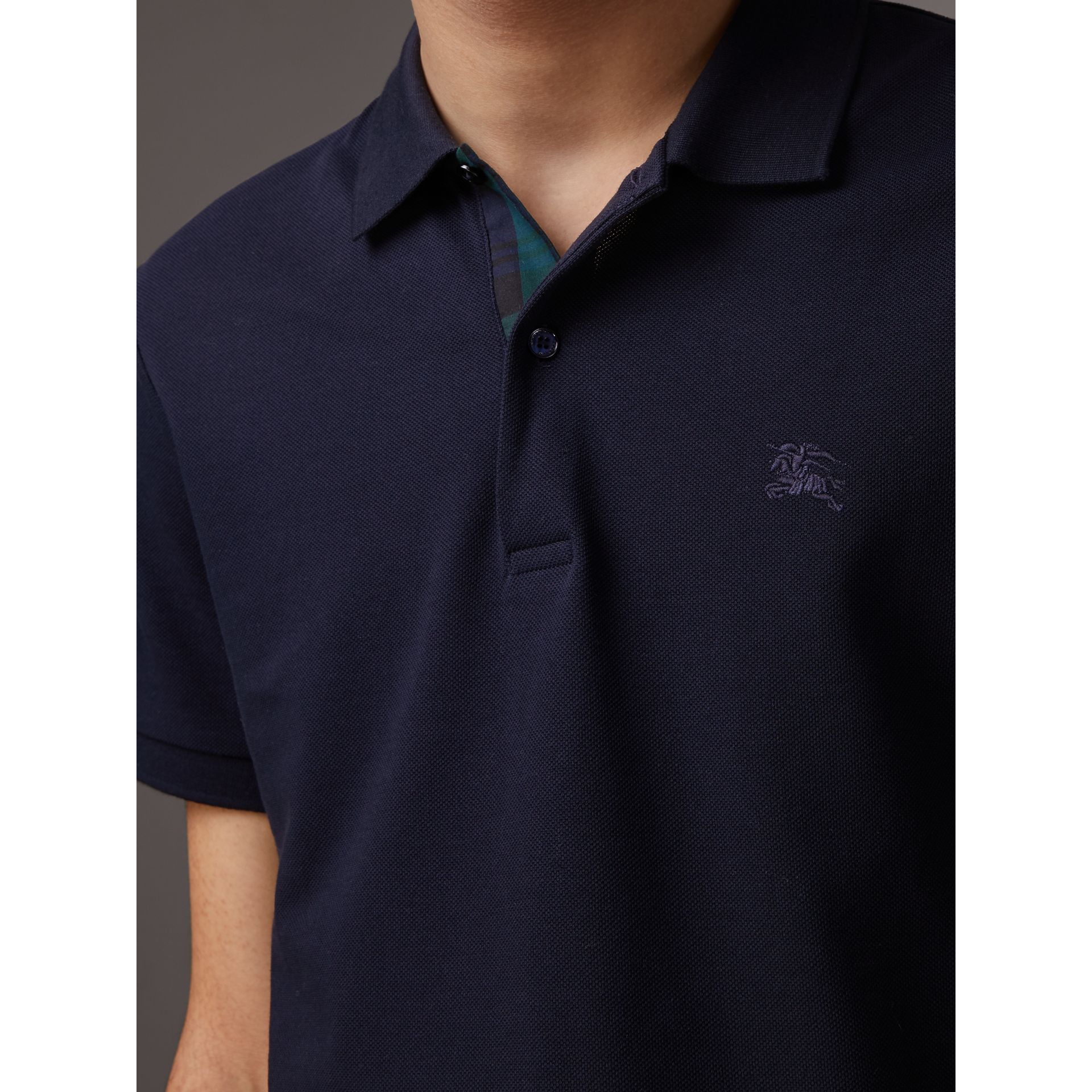 Tartan Trim Cotton Piqué Polo Shirt in Dark Navy - Men | Burberry - gallery image 1
