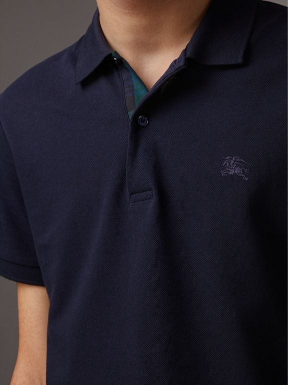 Tartan Trim Cotton Piqué Polo Shirt in Dark Navy - Men | Burberry - cell image 1