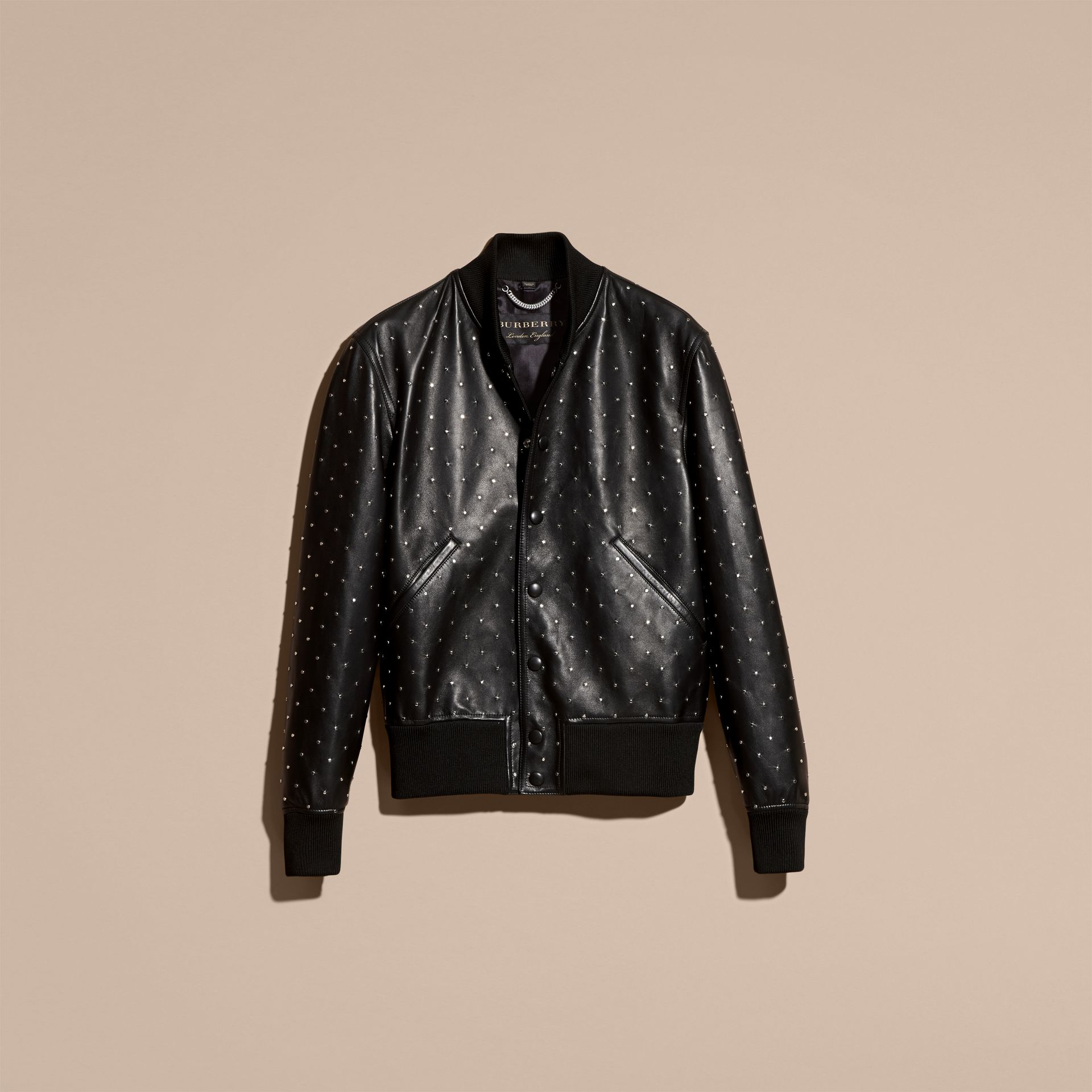 Black Riveted Plongé Lambskin Bomber Jacket - gallery image 4