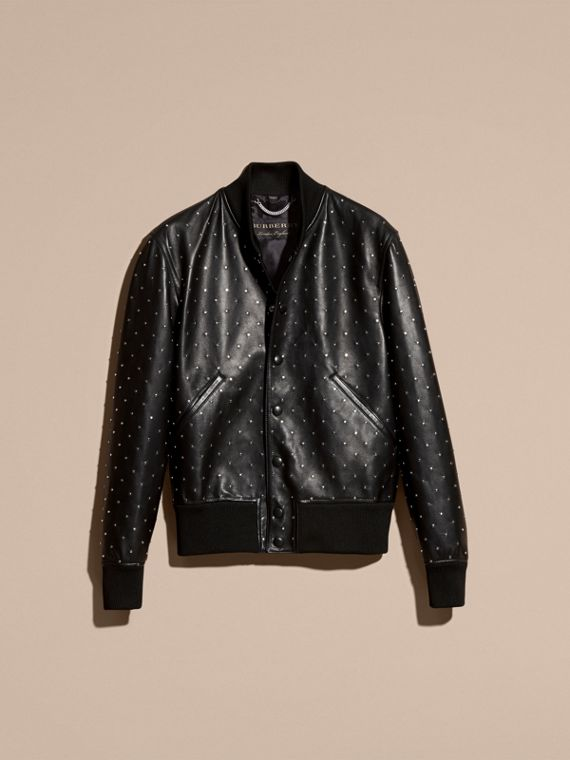 Black Riveted Plongé Lambskin Bomber Jacket - cell image 3