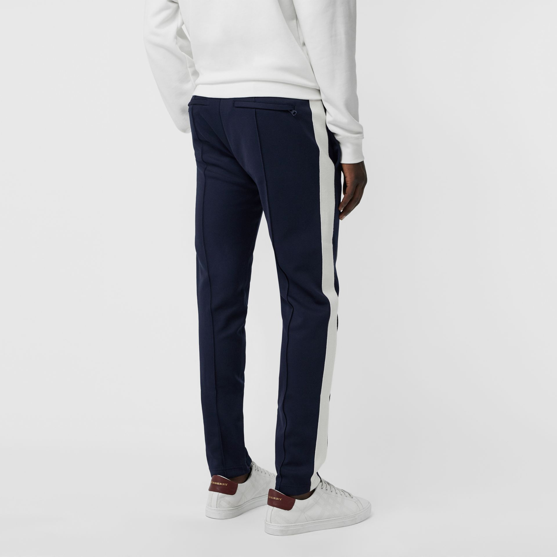 Sport Stripe Cotton Blend Drawcord Trousers in Navy - Men | Burberry United Kingdom - gallery image 2