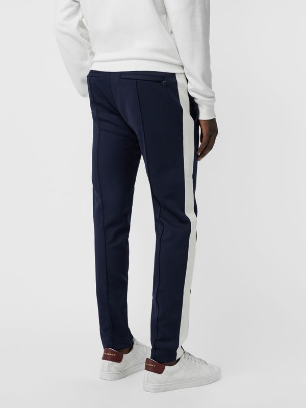 Sport Stripe Cotton Blend Drawcord Trousers in Navy - Men | Burberry United Kingdom - cell image 2