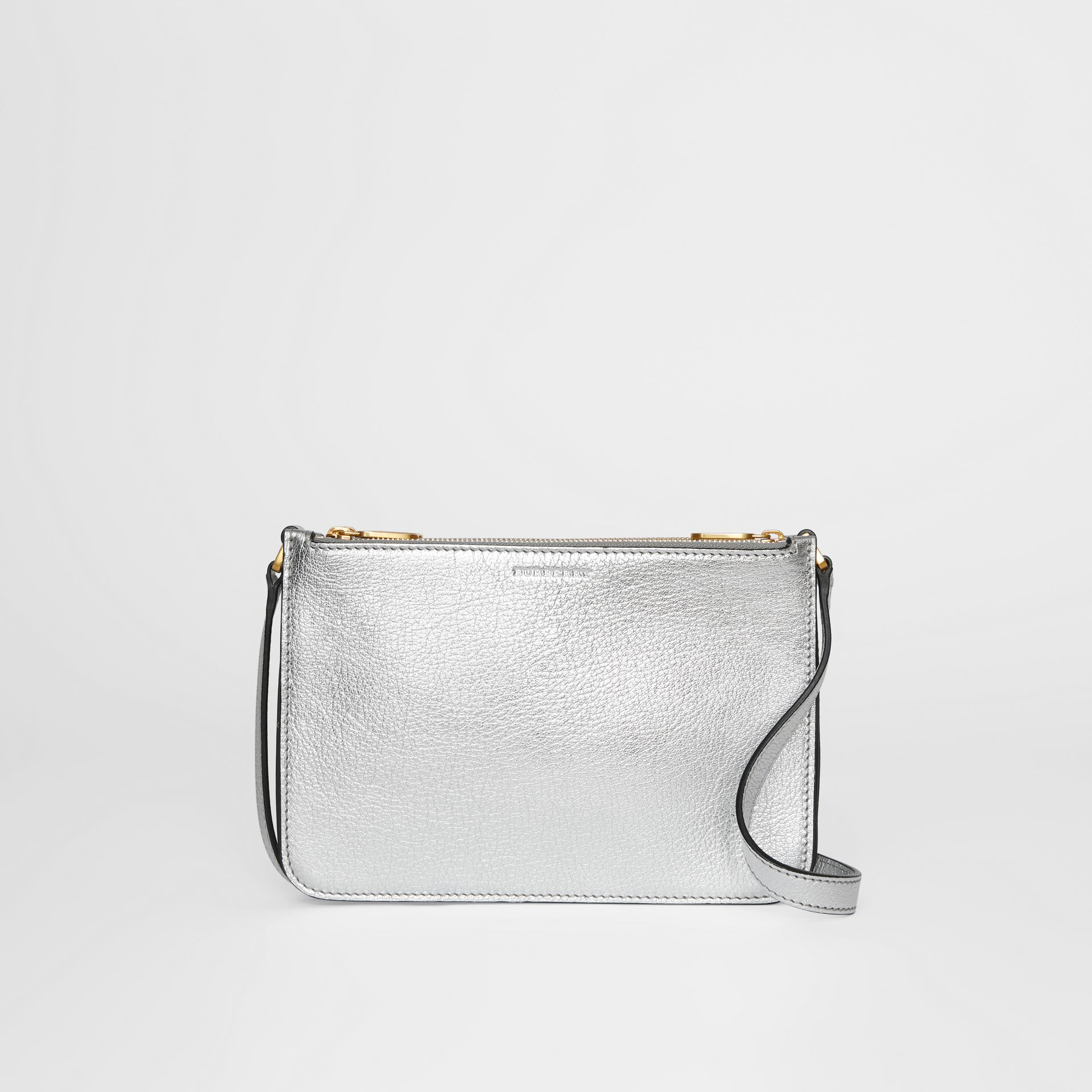 Triple Zip Metallic Leather Crossbody Bag in Silver - Women | Burberry - gallery image 0