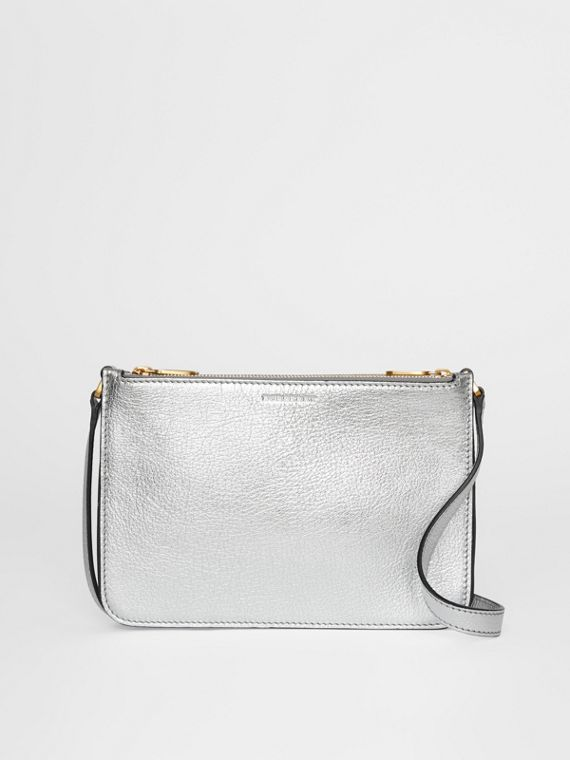Triple Zip Metallic Leather Crossbody Bag in Silver