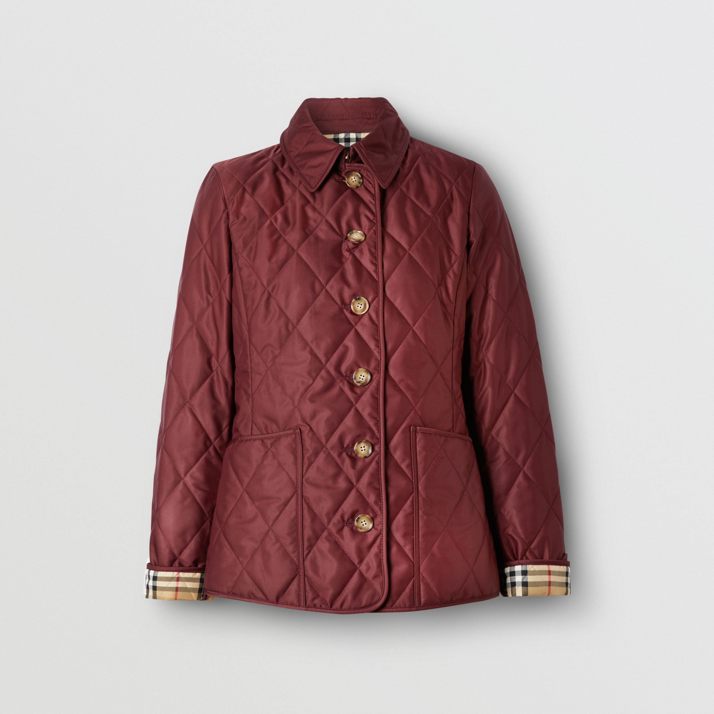 Diamond Quilted Thermoregulated Jacket in Deep Claret - Women | Burberry - 4
