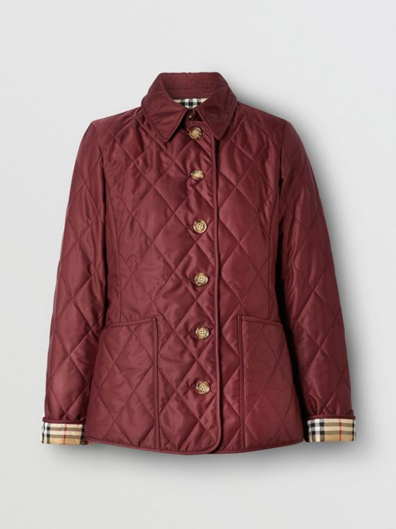 Diamond Quilted Thermoregulated Jacket in Deep Claret