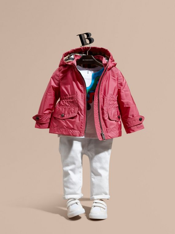 Hooded Packaway Technical Jacket in Pink Azalea