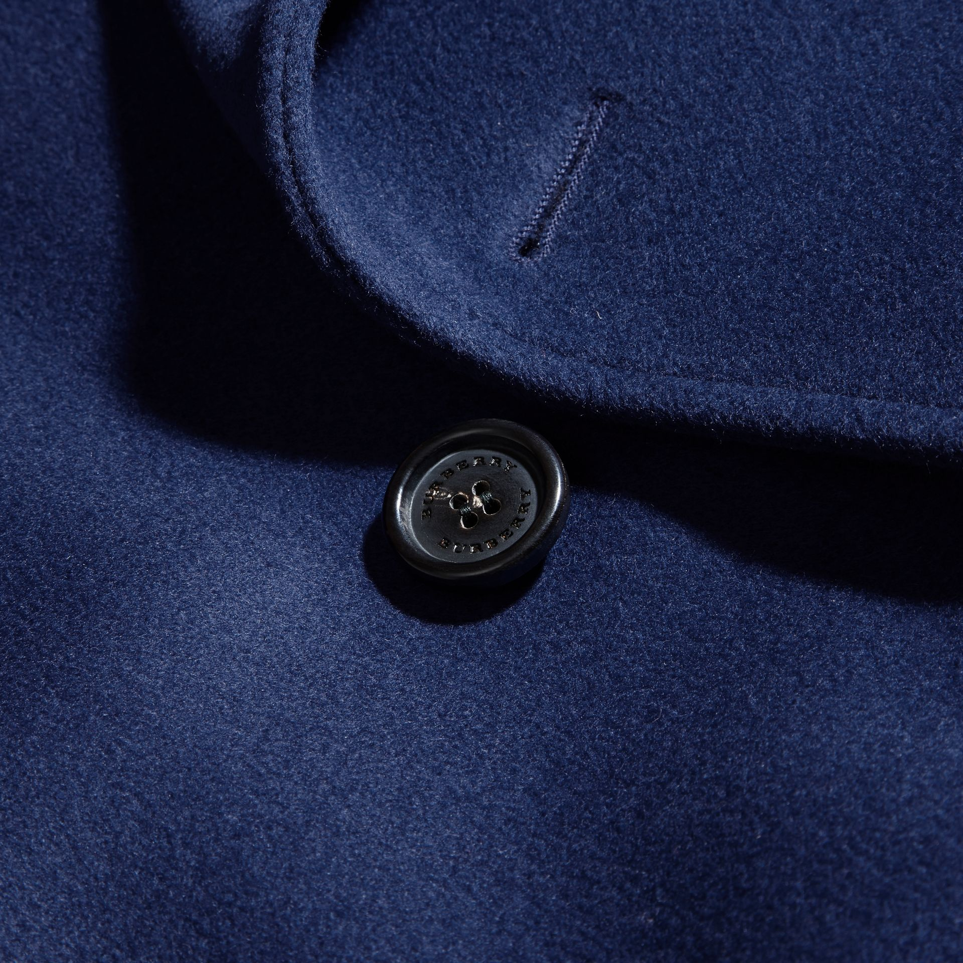 Bright steel blue Wool Cashmere Trench Coat - gallery image 2