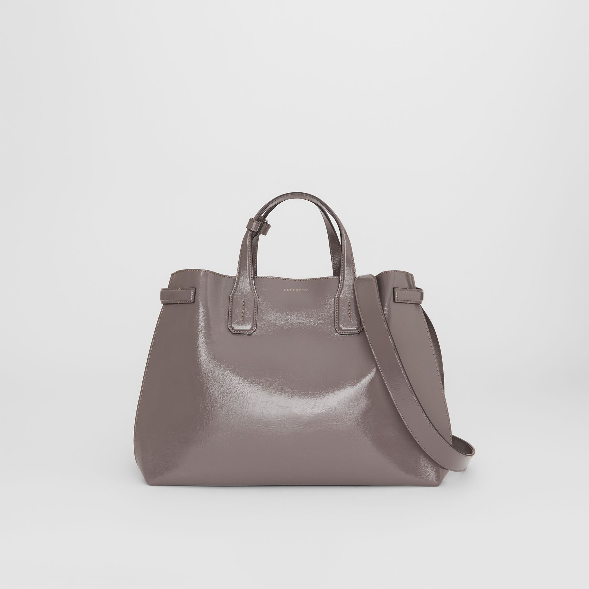The Medium Soft Leather Banner in Sepia Grey - Women | Burberry United Kingdom - gallery image 0