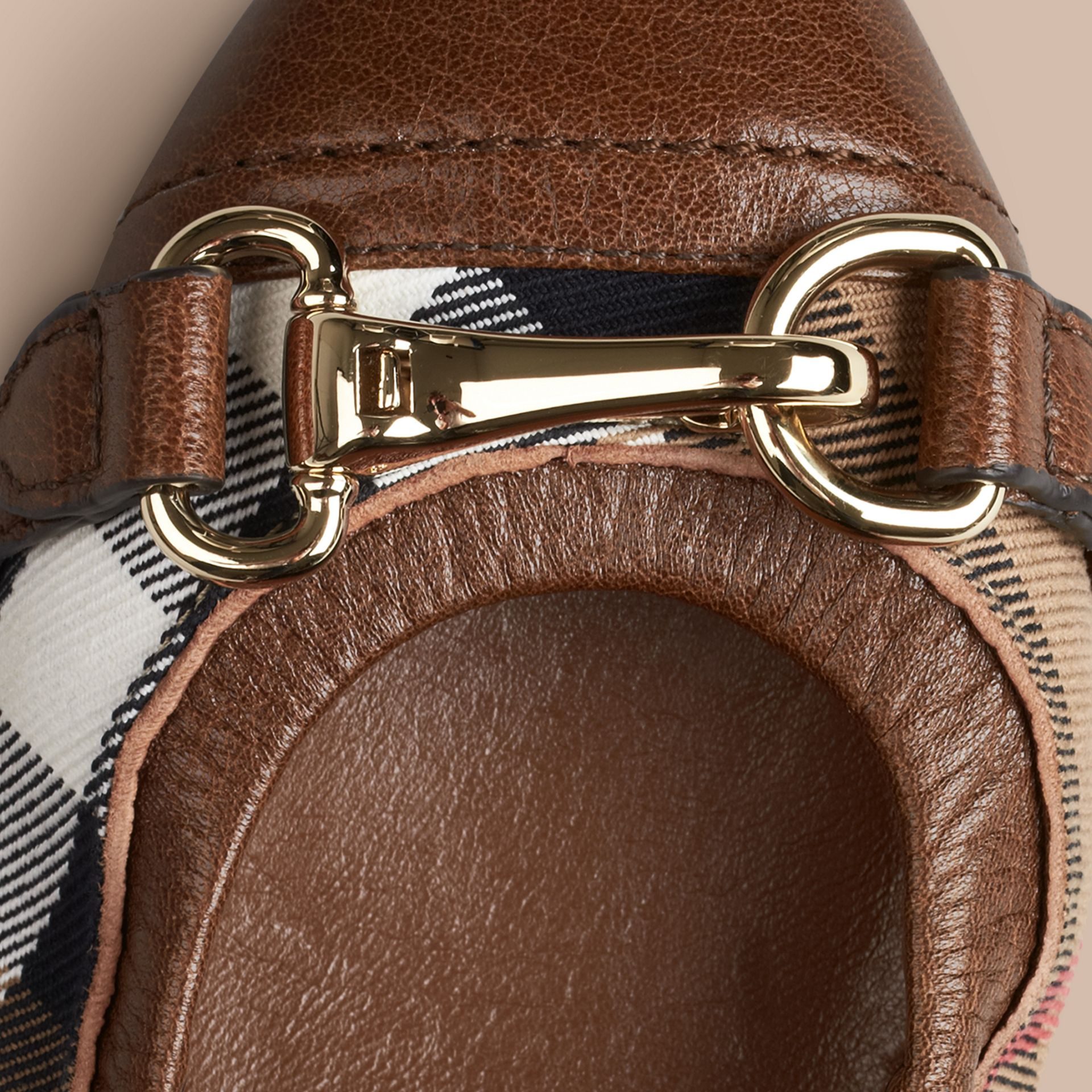 Dark tan Buckle Detail House Check Ballerinas Dark Tan - gallery image 2