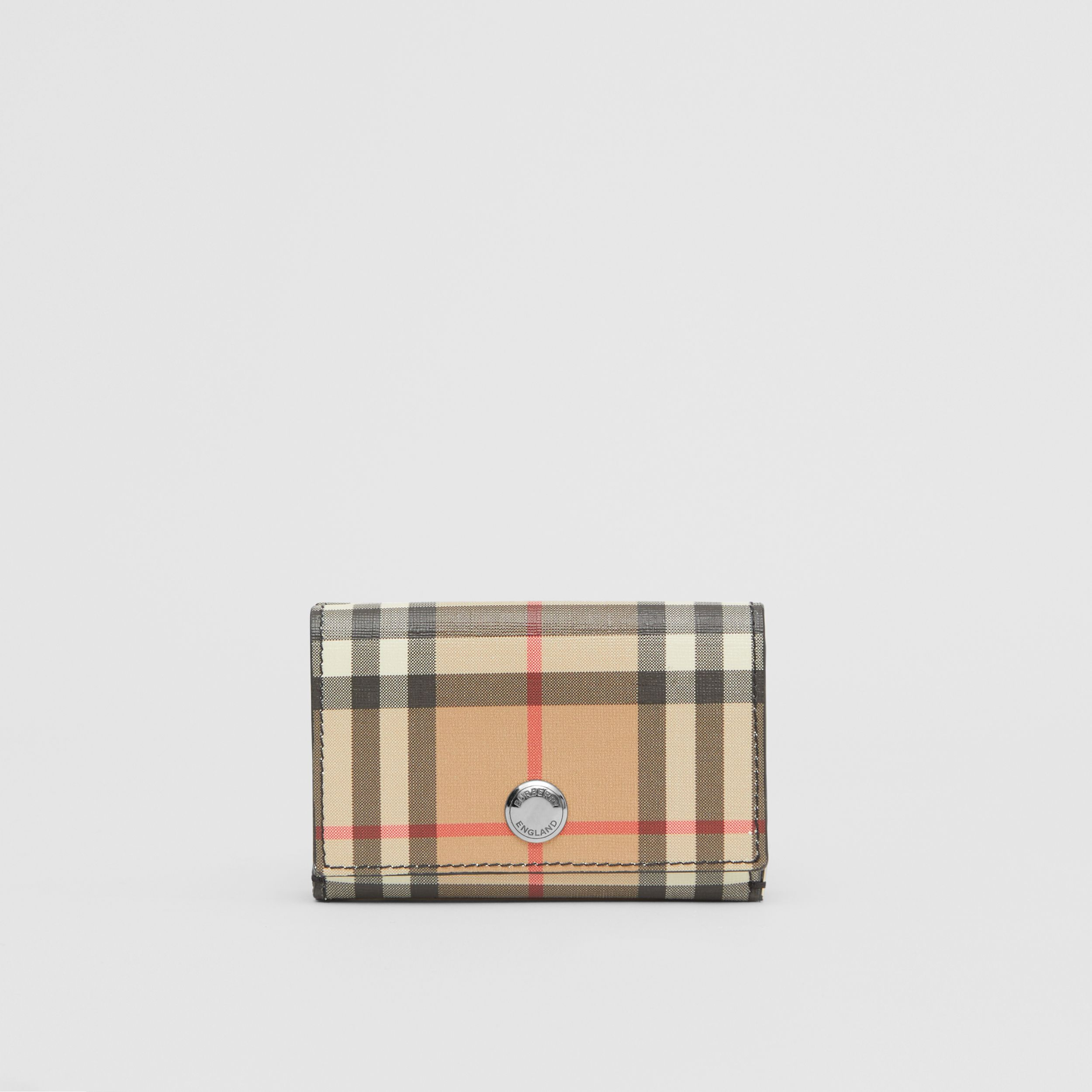 Small Vintage Check E-canvas Folding Wallet in Black - Women | Burberry Hong Kong S.A.R. - 1