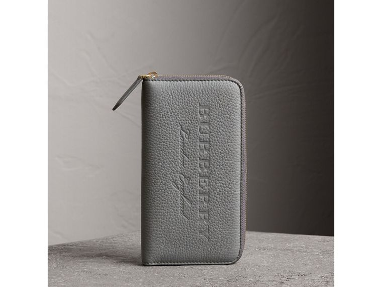 Embossed Grainy Leather Ziparound Wallet in Dusty Teal Blue - Men | Burberry United Kingdom - cell image 4