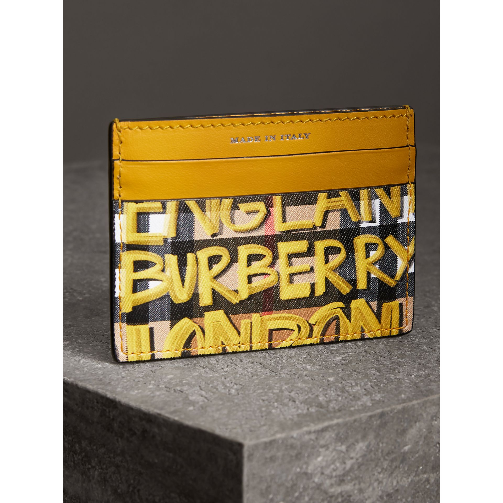 Graffiti Print Vintage Check Leather Card Case in Yellow | Burberry - gallery image 2