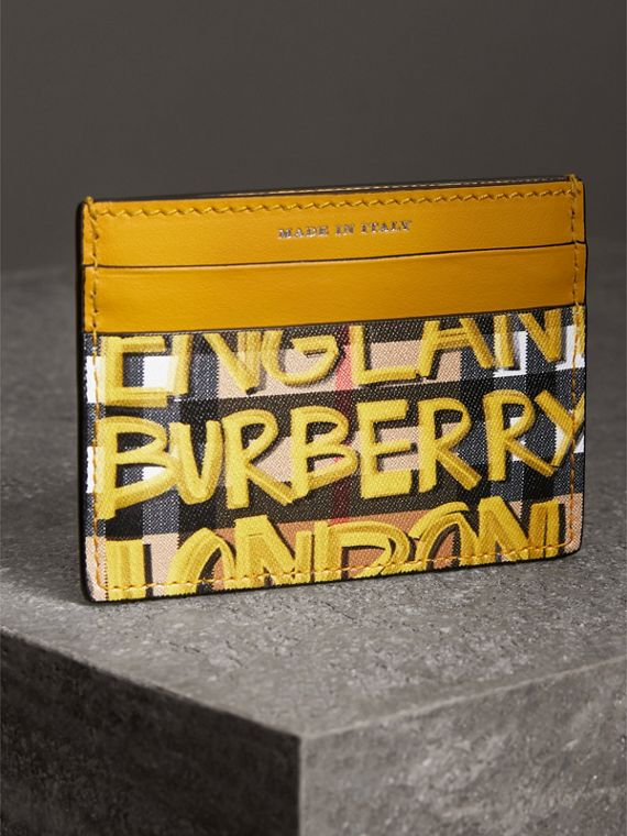 Graffiti Print Vintage Check Leather Card Case in Yellow | Burberry Singapore - cell image 2