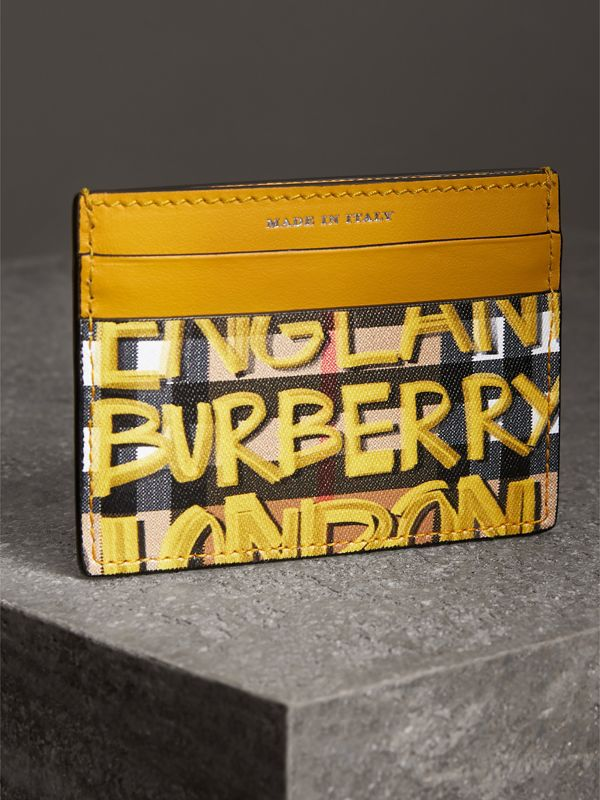 Graffiti Print Vintage Check Leather Card Case in Yellow | Burberry - cell image 2